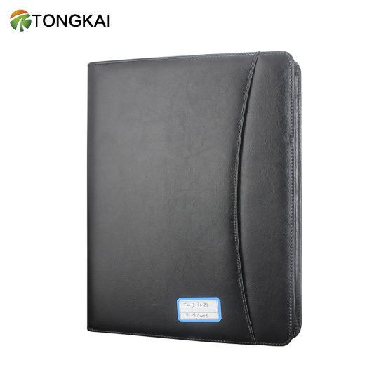 Tongkai 2019 Hot Selling PU Leather Portfolio File Folder with Zipper