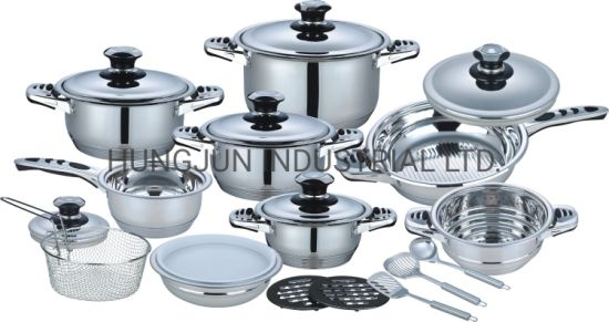 Kitchen Utensils Appliance Fry Pan 21PCS Stainless Steel Cookware Set with Glass Lid