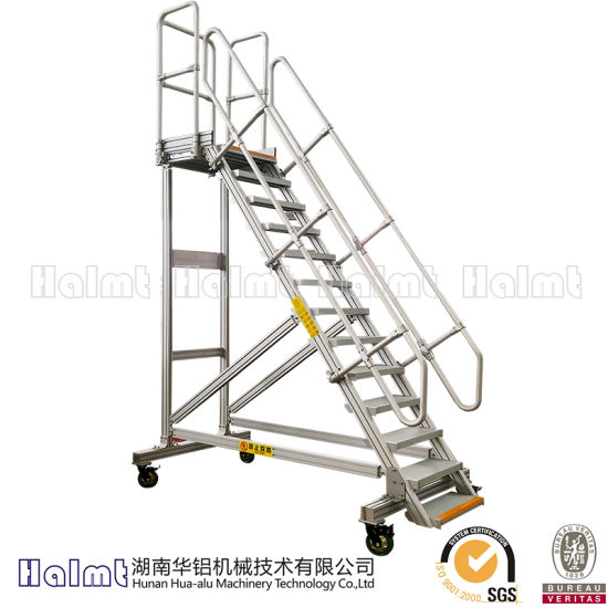 Industrial Mobile Aluminium Platform Step Ladders pictures & photos