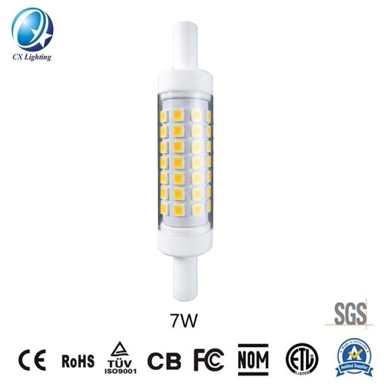 Mini R7s LED Lamp 78mm 7W 700lm 120V or 230V Ce RoHS Ceramic Warranty 3 Years IP44