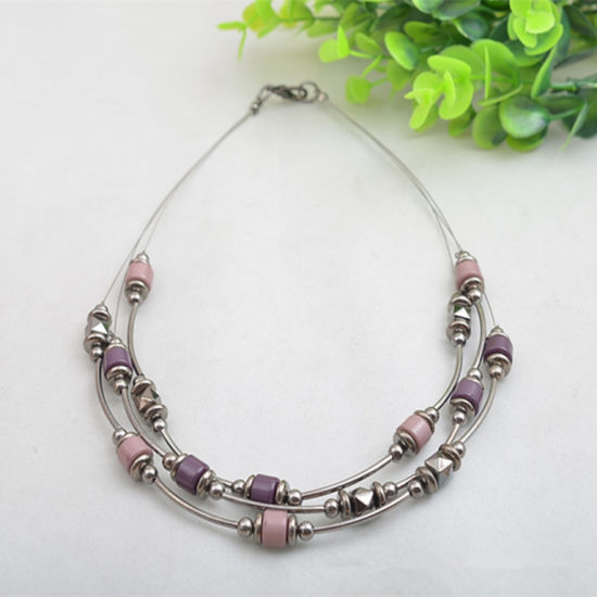 New Cheap Retro Channeling Copper Tube Ccb Steel Three Layers Clavicle Necklace pictures & photos