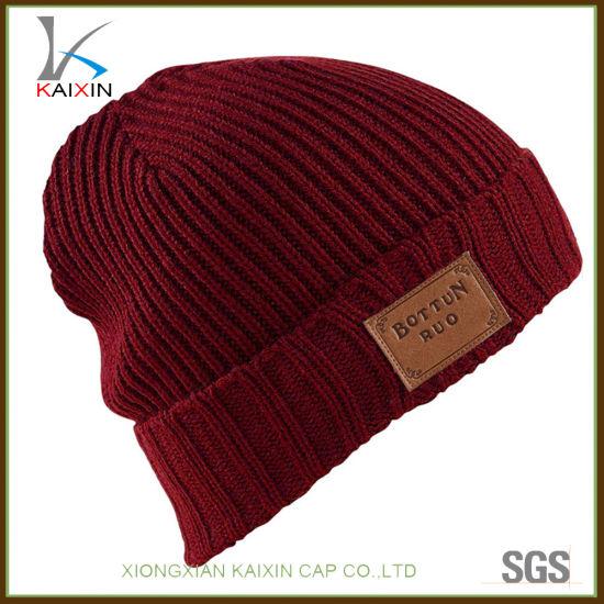 ce0601c86 [Hot Item] Custom Leather Patch Acrylic Slouchy Beanie Hat