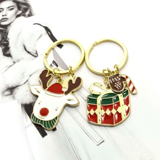 Multicolored Enamel Reindeer Christmas Gift Key Chain pictures & photos