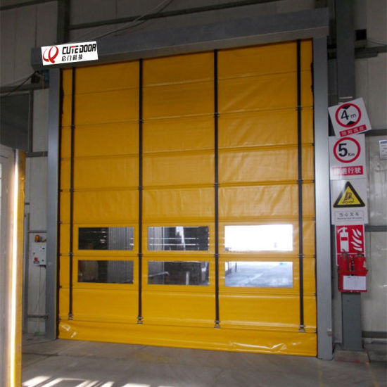 China Factory Promotional Automatic PVC Stacked Folding Type Rolling Door & China Factory Promotional Automatic PVC Stacked Folding Type ...