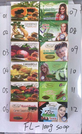 100g Mangosteen Carambola Mixed Fruits Green Tea Aloe Vera Ginseng Papaya Lemon Lime Balance with Honey Skin Care Bath Soap