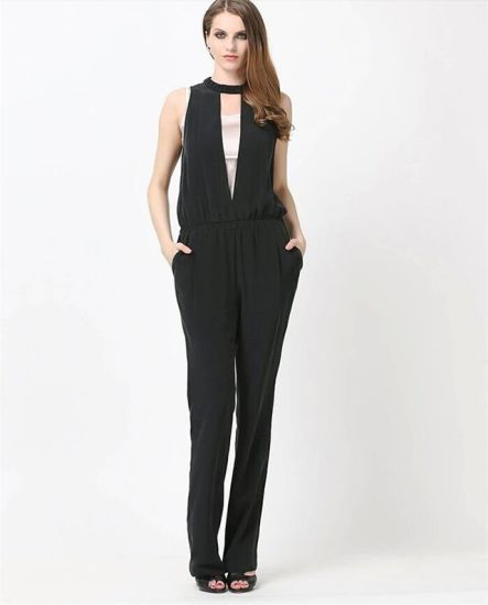69de7115eb8 China Sexy Pure Black Backless Jumpsuit for Women - China Sexy ...