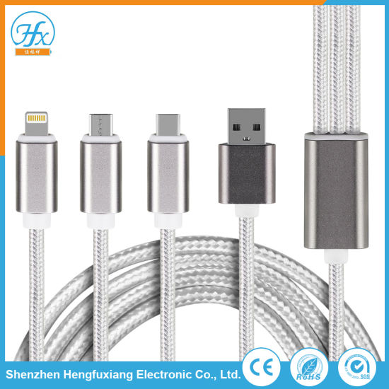 Custom Type-C/Lightning/ Micro USB Data Charger Cable Mobile Cables