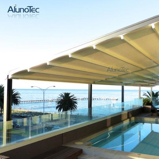 china electric retractable rain roof waterproof aluminum pvc