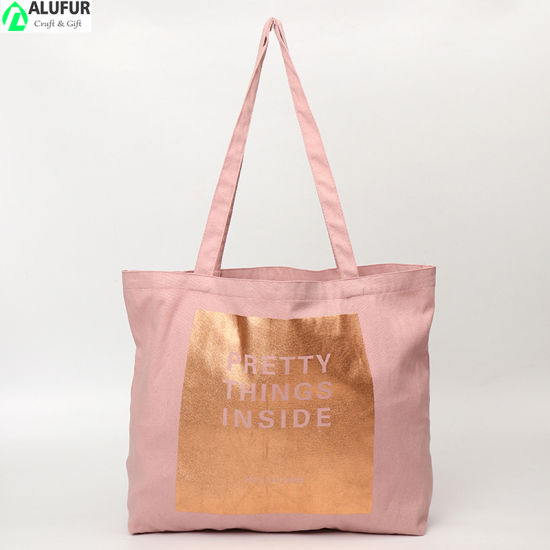Cotton Shoulder Bag Large Horizontal with Gold Printing