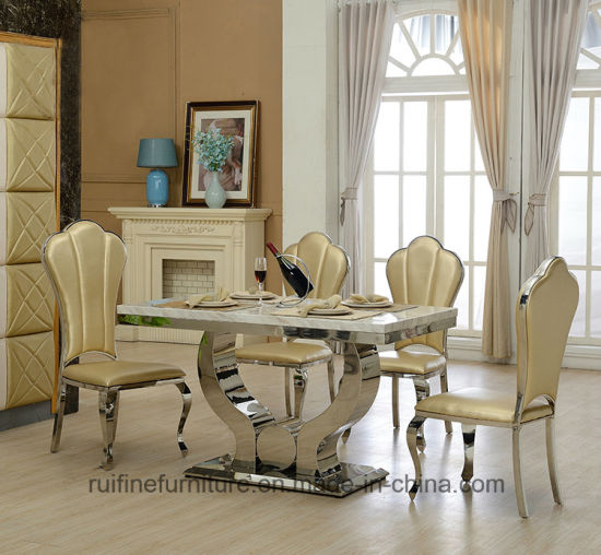 Modern Chrome Hands Base White Marble Top Dining Table Stainless Steel