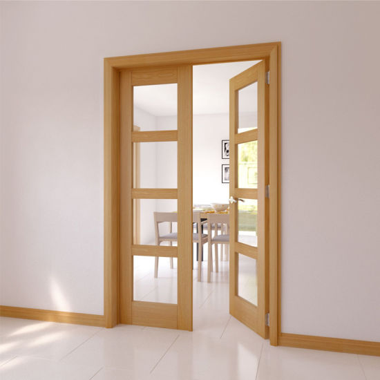 China High Quality Interior Solid Wood Double Doors With Tempered