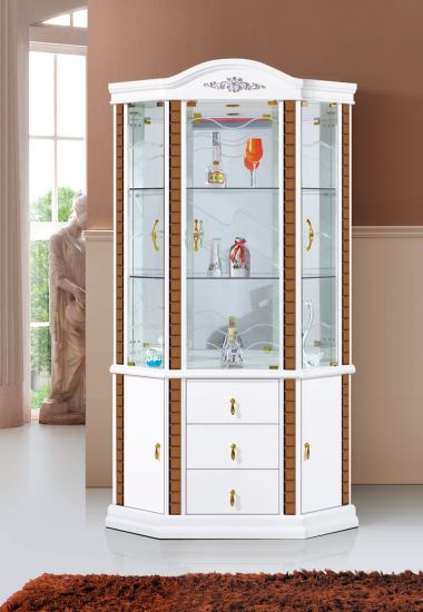 Modern White Glass Wine Rack Storage Cabinet
