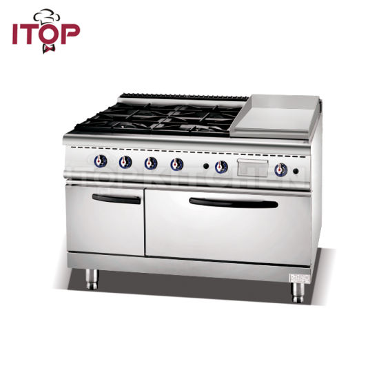 Commercial Industrial Gas Range 4 Burner Stove With Griddle Oven Pictures P Os