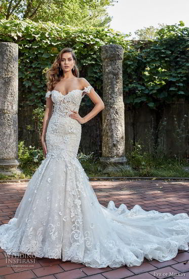 China Off Shoulder Bridal Gowns 2018 Lace Mermaid Beaded Wedding