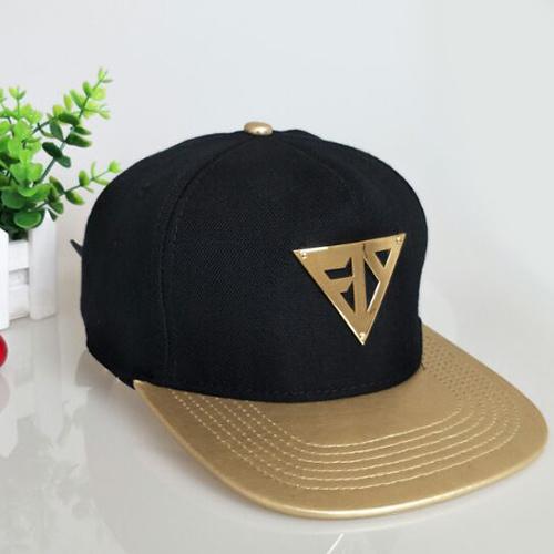e04f8fb7 [Hot Item] Custom Metal Logo Leisure Leather Cap Black Flat Bill Snapback  Hat
