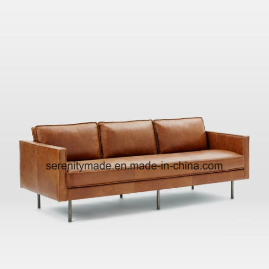 Industrial Style Living Room Italy Vintage Real Leather Sofa