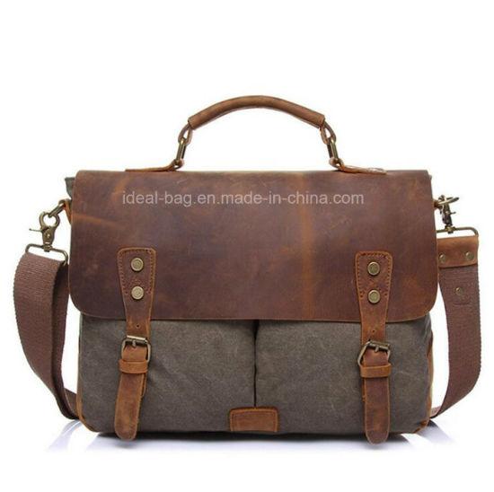72b7bc0b0105 China Hot Sale Canvas Leather Crossbody Laptop Messenger Bag - China ...