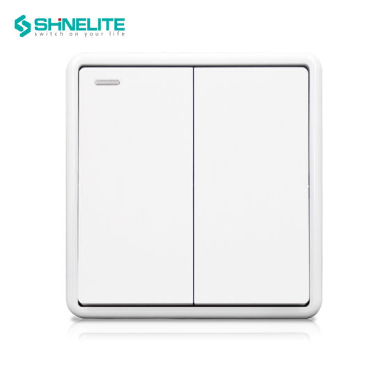BS Standard Durable Plastic Brushed Panel Light Wall Switch