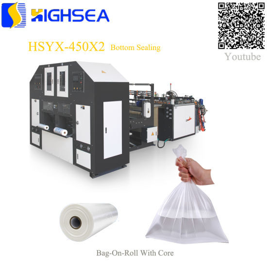 High Quality Fruit Bag Servo Motor Control Heat Sealing Cold Cutting Bag Double Lines Grocery Plastic Bag Eco-Friendly Fruit Plastic Bag Rolling Bag Making Mach