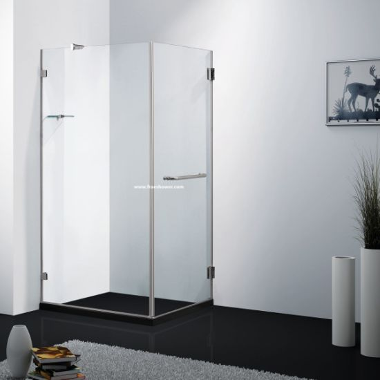 8mm or 10mm Frameless Big Hinge Square Shower Door with Stainless Steel Hardwares pictures & photos