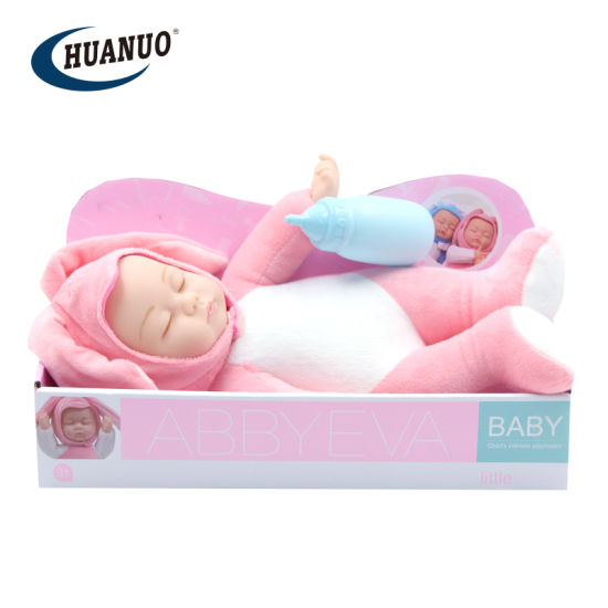 33.5cm Cotton Reborn Toy Sleeping Baby Doll with Feeding Bottle