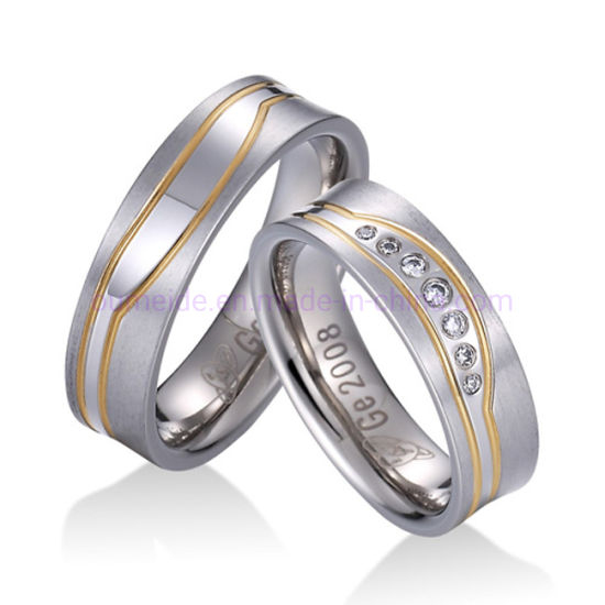 51ff58b56 China Fashion Two Gold Groove Jewelry Ring for Couple - China ...