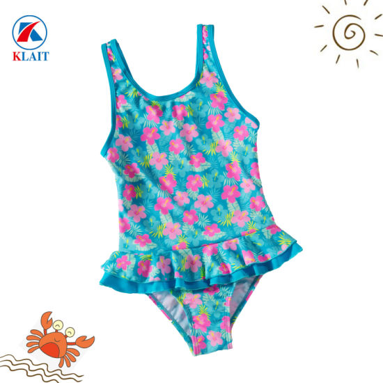 b92df3a134 China Customized Lovely Ruffle Floral Print Girls One Piece Ruffle ...