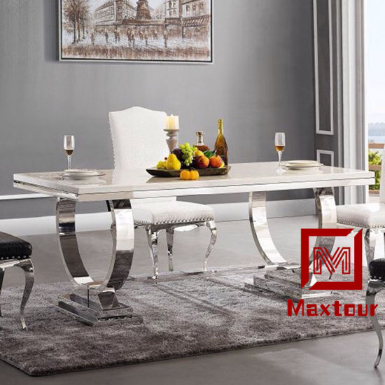 High Quality Rectangle Luxury Marble Top Dining Room Furniture Table Set Modern