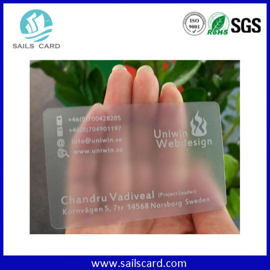 Printed Transparent PVC Business Card/Custom Clear PVC Name Card pictures & photos
