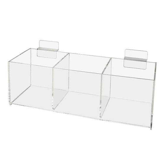 Custom Size Clear Transparent Slatwall Acrylic Storage Box Bin with 3 Compartments for Retail Store