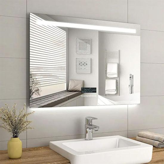 China Customized Smart LED Illuminated Bathroom Wall Mounted Furniture Frameless Mirror with Demister