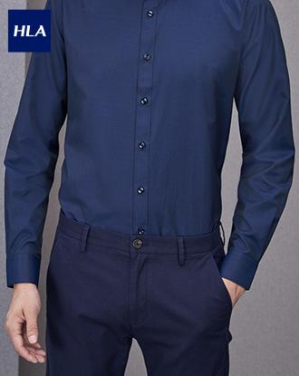 Hla Floral Long Sleeve Dress Shirt Jacquard Comfortable Business Shirt Men