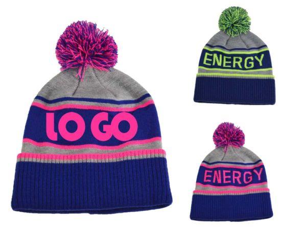 BSCI Recycled Knitted Sport Acrylic POM POM Jacquard Beanie Hat
