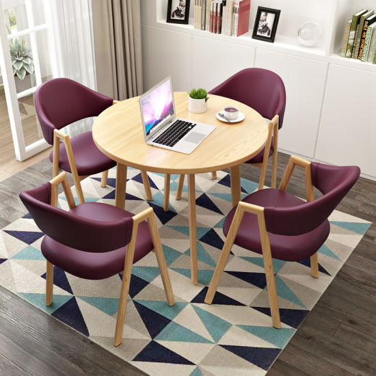 Wholesale New Wooden Home Office Furniture Hotel Salon Living Dining Room Study Table and Leather Chair Set