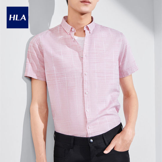 Hla Gentle Plaid Short Sleeve Shirt 2020 Summer New Buckle Point Collar Casual Short Lining Men