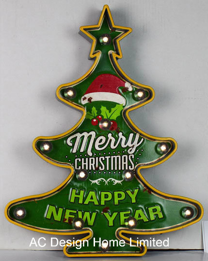 Metal and Plastic Frame Wall Decor Christmas Tree W/LED
