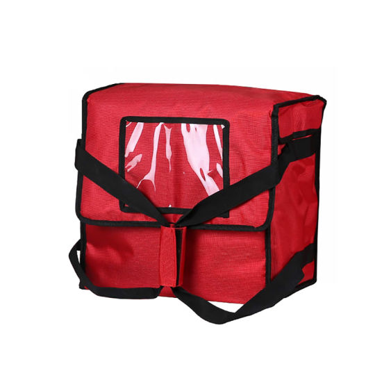 """Polyester Insulated Pizza/Food Delivery Bag 14""""× 14""""× 8"""" for Four 12"""" Pizza Boxes (Red)"""