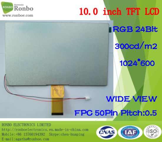 "10.1"" 1024X600 RGB 50pin 300CD/M2 LCD Display Option Touch Screen pictures & photos"