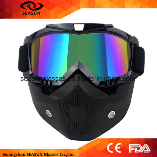 1e5a871e83f Men Women Moto Motocross Goggles Modular Mask Removable Goggles and Mouth  Filter for Modular Open Face Motorcycle Helmet