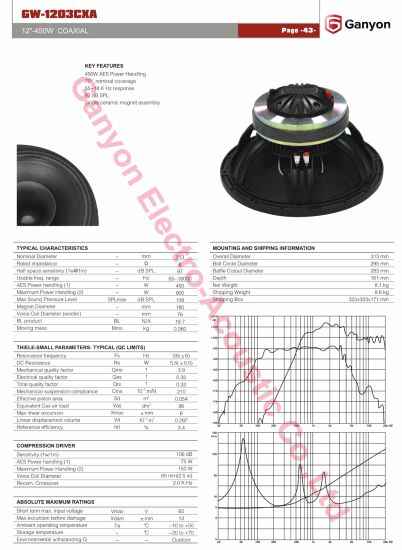 "Gw-1203cxa 12"" Coaxial Drivers for 12xt, PRO Audio, High Quality Compact Speaker pictures & photos"