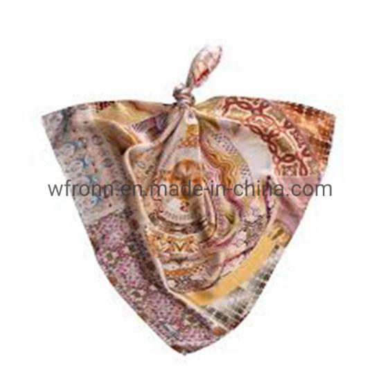 Custom Silk Satin Cotton Multifunctional Beautiful Bandana on Head