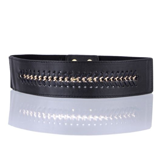 Black Color PU Leather Metal Chain Elastic Ladies Belts (RS12005)