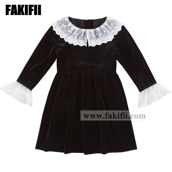 9594ee11a4b4a [Hot Item] New Design Winter/Autumn Customised Baby Christmas Clothes  Children Garment Girl Lace Black Velvet Dress