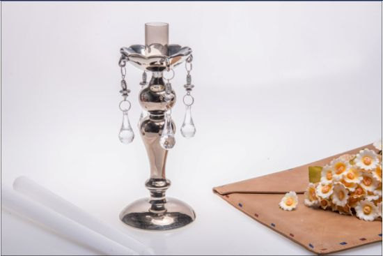 Glass Candle Holder for Party Decoration with Single Poster (dia8*22.5) pictures & photos