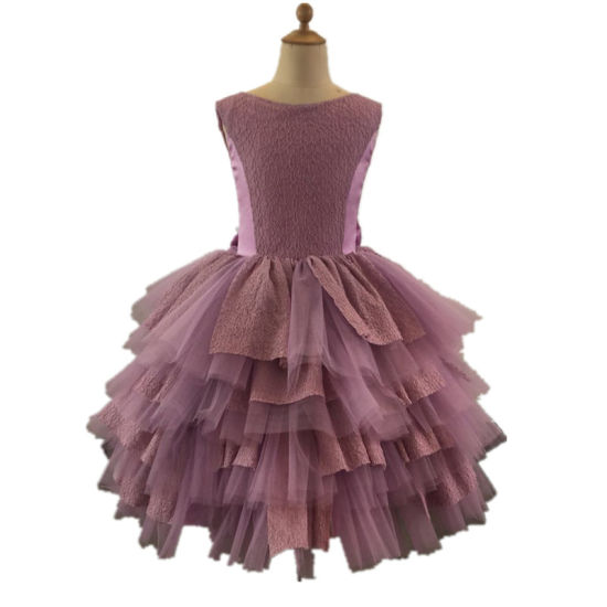 Purple Lace Tulle Baby Evening Prom Party Girl Dress Rsl009
