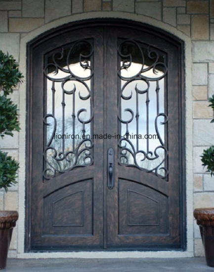 China Contemporary Exterior Custom Double Wrought Iron Security Door ...