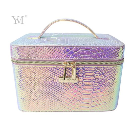 Large Capacity Make up Tool Box, PVC Leather Makeup Box with Mirror