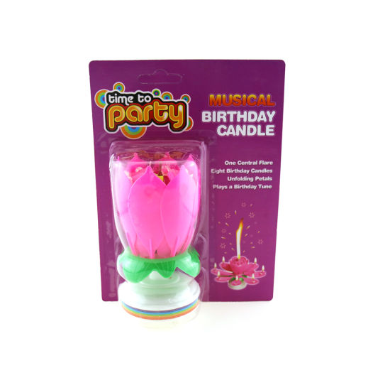 Wholesale Rotating Best Selling Flower Firework Musical Happy Birhtday Candle With Double Layers