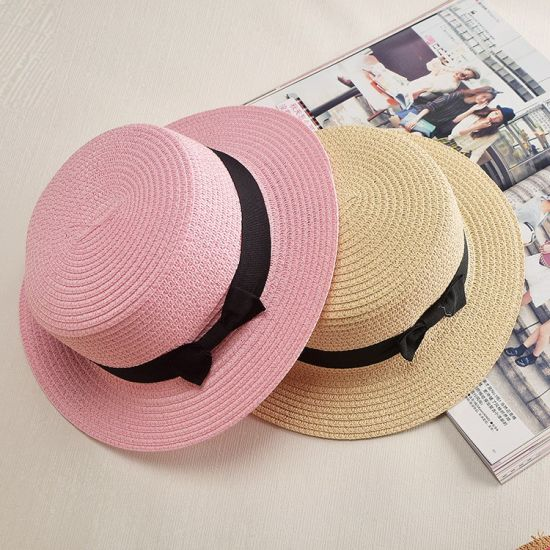2c75f428 Sun Caps Ribbon Round Flat Top Straw Beach Hat Panama Hat Summer Hats for  Women Straw Hat
