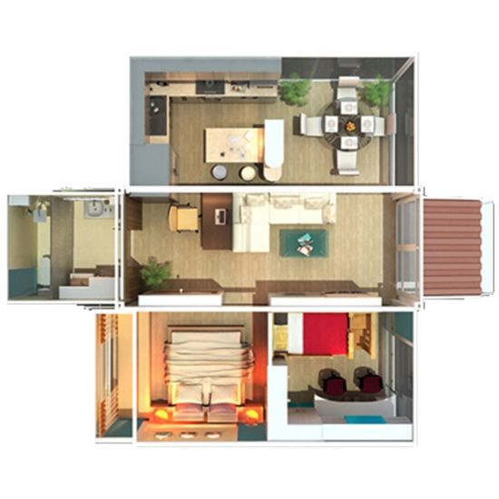China 2 Bedroom Container House Modern Prefab House - China